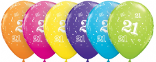 21st Assorted Colour Balloons 6 Pack